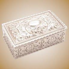 Nice Victorian Silver Plated Trinket Box, Circa 1890