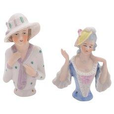 Nice Pair of German Porcelain Pin Dolls, Circa 1925
