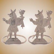 Unusual Pair of Victorian Silver Menu Holders, Sheffield 1898