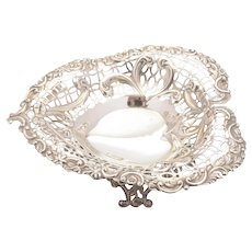 Gorgeous Victorian Silver Heart Shaped Dish, 1892