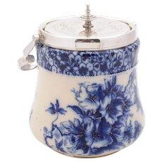 Superb Victorian Flow Blue China Biscuit Box, 1895