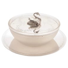Gorgeous Victorian Glass and Silver Plated Butter Dish