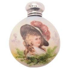 Gorgeous Edwardian China Scent Bottle, Birmingham 1904