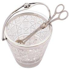 Nice Edwardian Cut Glass Ice bucket and tongs. Circa 1905