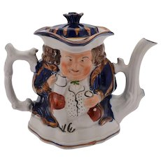 Lovely Toby Style Staffordshire China Teapot, Circa 1890