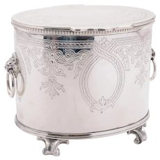Wonderful Victorian Oval Silver Plated Biscuit Box, Circa 1890