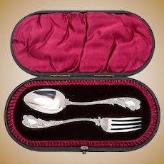 Unusual Cased Silver Christening Set, Sheffield 1893