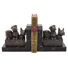 Cute Pair of French Art Deco Dog Bookends, Circa 1930