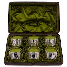 Fabulous Cased Set of 6 Napkin Rings, Circa 1890