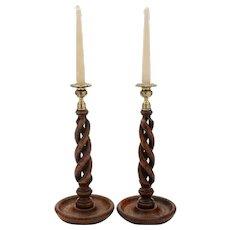 Gorgeous pair of Oak open twist candlesticks circa 1920