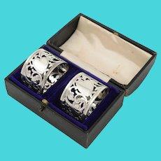 Gorgeous cased pair Victorian silver napkin rings. Birmingham 1899