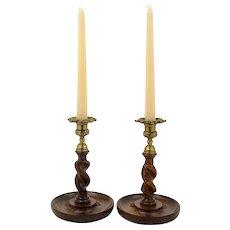 Good Pair of Oak Barley Twist Candlesticks - circa 1920