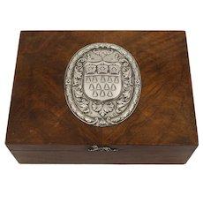 Super Walnut & Silver Cigar Box- London 1935