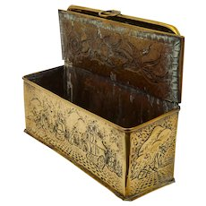 Unusual Arts & Crafts Brass Candle Box. Circa 1900