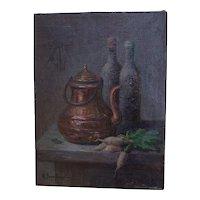Anna Bono-Dugelay (1891-1967) Oil On Canvas, Still Life Copper, Bottles, and Turnip.Circa 1930-1940.