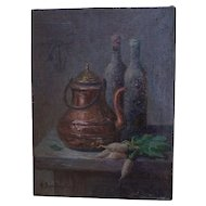 Anna Bono-Dugelay (1891-1967) Oil On Canvas, Still Life Copper, Bottles, and Turnip.Circa 1930-1940.