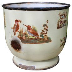 Uncommon French Napoleon III enameled metal jardiniere or «cache-pot» with birds pattern.