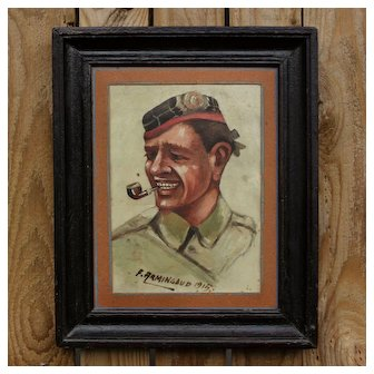 Uncommon French Painting: Scottish soldier portrait on vellum signed and dated F.Armingaud 1915.