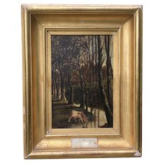 19th Century French Oil on Board,Cow by the River.
