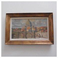 """""""Basilica di San Pietro di Roma"""",oil on board,circa 1940,unsigned."""