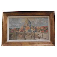 """Basilica di San Pietro di Roma"",oil on board,circa 1940,unsigned."