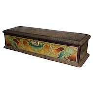 France circa 1900 : Beautiful  glove box with lithographed decor on metal.