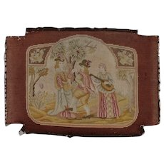 Pretty French Needlepoint Tapestry Seat Cover Two Dancers and a Musician. Circa 1900-1920