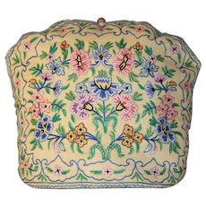 Pretty French Vintage Hand Embroidered Tea Cozy.