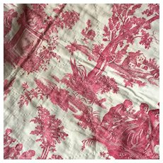 Pretty Early 19th Century French Cotton Toile De Jouy Piece