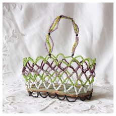 Charming French Beaded Basket for Doll.Early 20th Century
