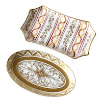 Set of Two Limoges Porcelain Miniature Trays 1925s