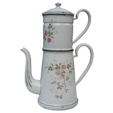 French enamel coffee pot with rose's decoration.