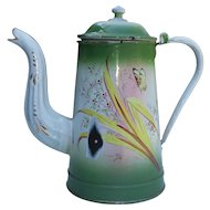 French enamel hand painted coffee pot .