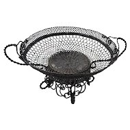 French Napoleon III pretty braided metal wire basket.