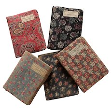 Set of Five Antique French Miniature Books,Fabric Cover Early 20th Century