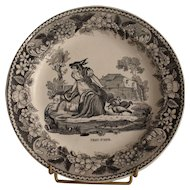 Early 19th century French Montereau faience fine dessert plate « Peau d'âne » .