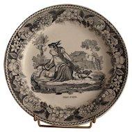 Early 19th century French Montereau faience fine dessert plate «Peau d'âne» .