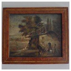 French school XIX century,lovely small oil on panel «The horsemen's halt».