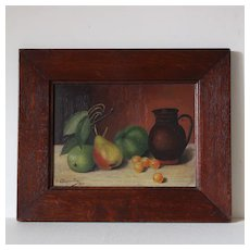 French Folk Art Oil , Fruit Still Life ,Pear Apple and Plums .E Charpentier 1904