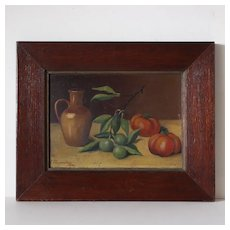 French Folk Art Oil , Still Life Olives and Tomatoes. E .Charpentier 1904