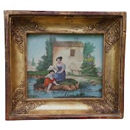 Delicious French romantic engraving in a gilded frame. Circa 1830.