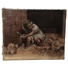 Late 19th century lovely small French  oil on canvas, with a little girl,a cat,hens and ducks.RESERVED FOR CRISTINA