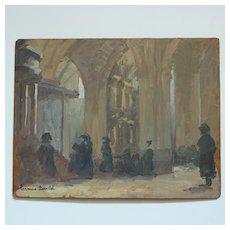 Hermine David (1886-1970) French Post-Impressionist Oil Painting ''Church Interior''