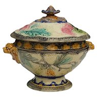 Beautiful 19th century barbotine tureen, Belgian faience of Wasmuël.