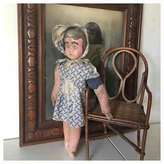 Cute Shabby French 1930s Jointed Little Doll,Fabric and Straw Body,Composition Head.