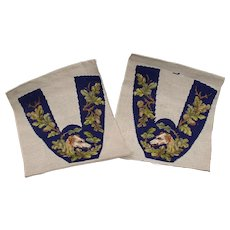 Two amusing French vintage hand tapestry pieces with  greyhounds heads in a foliage decor.