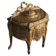 France 1880-1900 :adorable LXV style miniature gilded metal chest of drawers,jewelry box or doll house furniture.