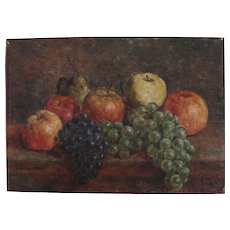 Fruit still life , French oil on panel,signed L. Seillard,circa 1930.