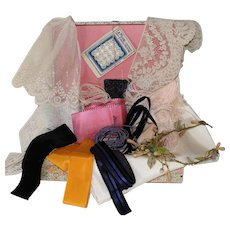 Set of Antique French Lace,Ribbons,Buttons and Various in a Box for Doll Project.