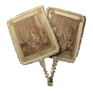 French Pair 1920s Face Screens , printed silk and passementerie,18th century domestic scenes.